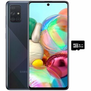 """Read more about the article Samsung Galaxy A71 (128GB, 6GB) 6.7"""", 64MP Quad Camera, 25W Fast Charger, Android 10, GSM Unlocked US + Global 4G LTE International Model A715F / DS (128GB + 64GB SD + Case Bundle, Prism Crush Black)"""