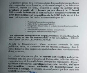 Read more about the article Cameroon: 32 persons  To Appear at Military tribunal for Protesting