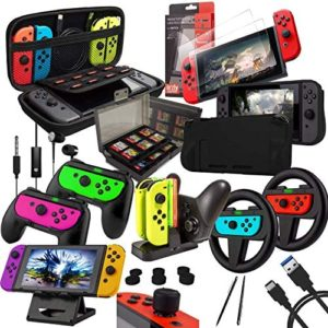 Read more about the article Switch Accessories Bundle – Orzly Geek Pack for Nintendo Switch: Case & Screen Protector, Joycon Grips & Racing Wheels, Switch Controller Charge Dock, Comfort Grip Case & More – JetBlack