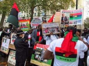 Read more about the article Biafra Agitators Storm UK Parliament, London To Protest Against Alleged Genocide In South-East